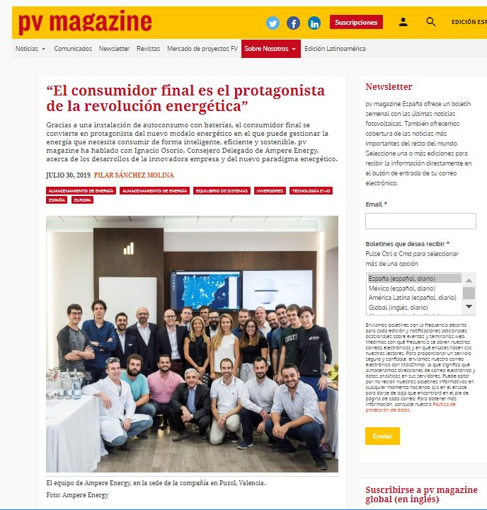 Reportaje sobre Ampere Energy en pv magazine